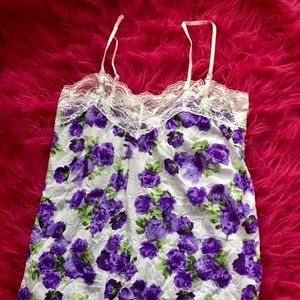 Purple roses with lace tank